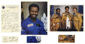 Challenger Astronaut Ron McNair Lot of Two Signed Photos & Autograph Letter Signed -- ...I wish you the best as you continue to excel, persevere, and be somebody...What is your ambition?...