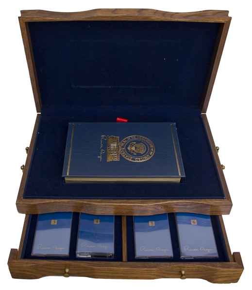 Ronald Reagan Signed ''An American Life'' Special Limited Edition -- Housed in Luxury Oak Case With Audiotapes
