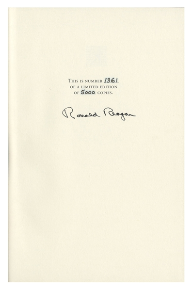 Ronald Reagan Signed ''Speaking My Mind'' Special Limited Edition -- Housed in Luxury Oak Case