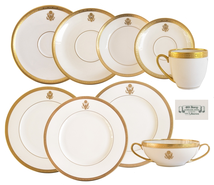 Set of Presidential China From the Early 20th Century -- All 9 Pieces Made for Air Force One on the Presidential Train