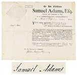Samuel Adams Signed Military Appointment From 1794