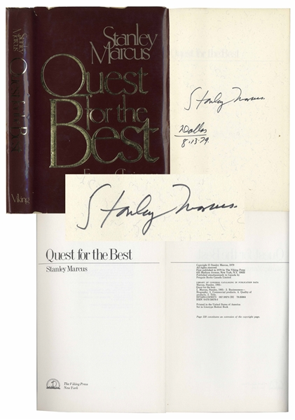 Stanley Marcus of Neiman-Marcus Signed Memoir ''Quest for the Best''