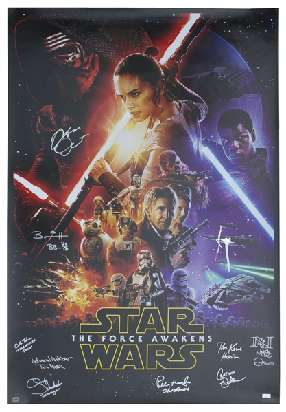 ''Star Wars: The Force Awakens'' Cast Signed Poster Measuring 27'' x 40'' -- Signed by 11 of the Cast, With COAs From Celebrity Authentics