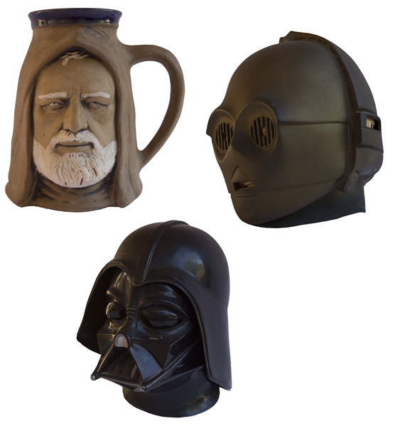 ''Star Wars'' Merchandising Lot of Items -- Darth Vader Hemet, CP3O Helmet & Obi Wan Kenobi Mug