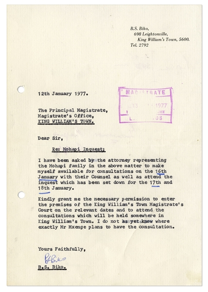 Steve Biko Letter Signed From 1977 -- Regarding the Death of Mapetla Mohapi Who Died in Police Custody in 1976, a Year Before Biko Met the Same Fate