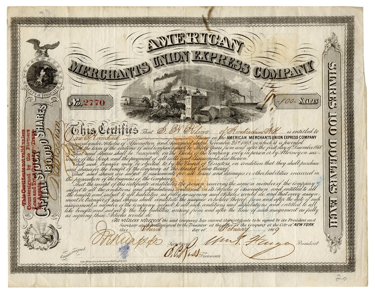 American Express Stock Signed by William Fargo of Wells Fargo Co.
