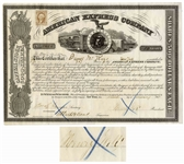 American Express Stock From 1863 Signed by Henry Wells of Wells Fargo Co.