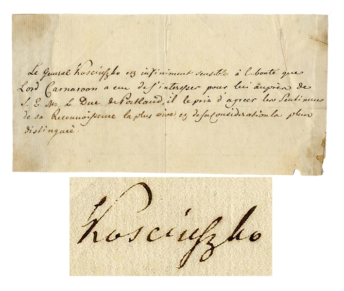 Tadeusz Kosciuszko Autograph Letter Signed -- ''...The General Kosciuszko is extremely sensitive to Lord Carnarvon's kindness...''