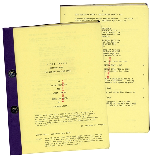 ''The Empire Strikes Back'' Script With Unique Red Coding # on Each Page From Original Production
