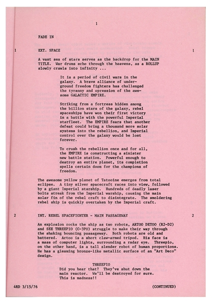 ''The Star Wars'' Script Used in Production on the Film From March 1976 -- With the Unequivocal Answer to Han Solo's ''Who Shot First'' Controversy
