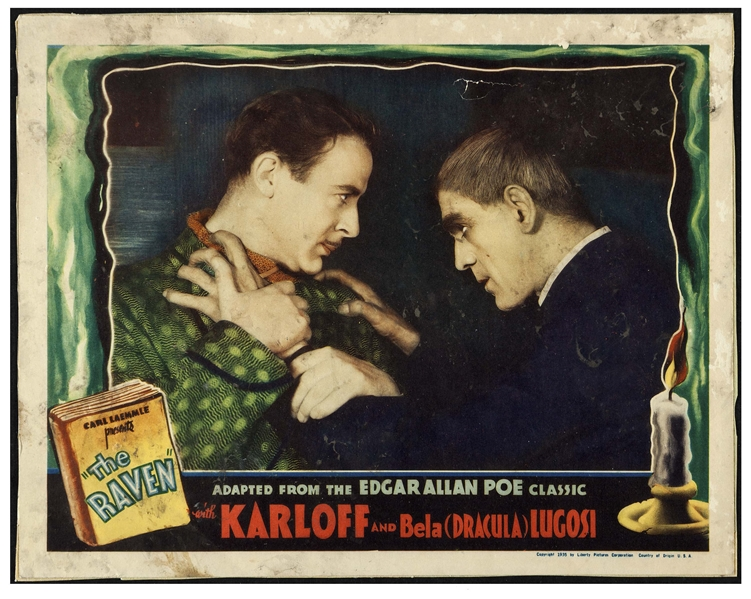 Edgar Allan Poe's ''The Raven'' Lobby Card From Universal's Classic 1935 Film Starring Horror Icons Boris Karloff & Bela Lugosi