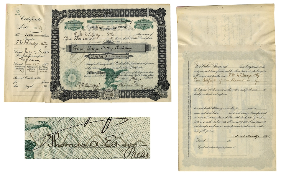 Thomas Edison Signed Stock Certificate in Edison Storage Battery Co. -- Founded to Produce Batteries for Electric Cars