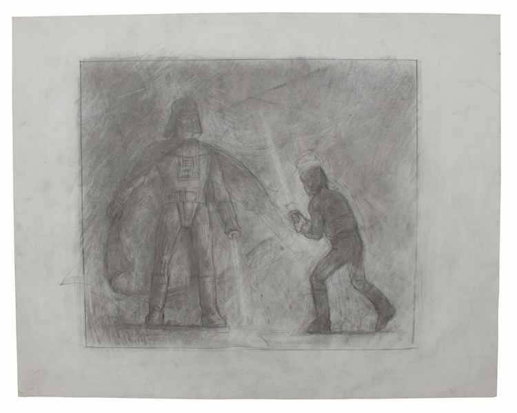 ''Return of the Jedi'' Original Concept Movie Poster Art by Tom Jung -- Featuring the Climactic Lightsaber Duel Between Luke Skywalker & Darth Vader -- Measures 24'' x 19''