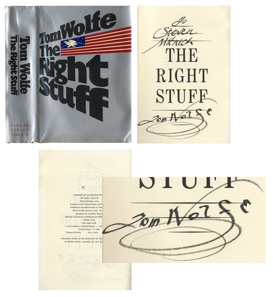 Tom Wolfe Signed First Printing of ''The Right Stuff'', His Landmark Book on the Mercury 7