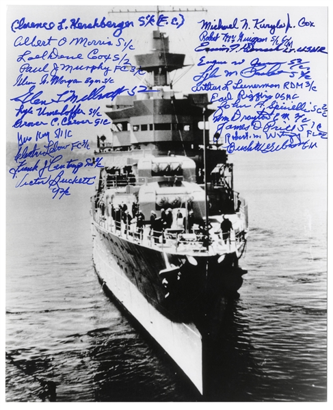 U.S.S. Indianapolis Survivors Signed 8'' x 10'' Photo -- Signed by 24 Survivors