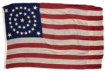 U.S. Flag With 34 Stars Representing the Addition of Kansas as the 34th State in 1861 -- Measures 9 Long -- Scarce