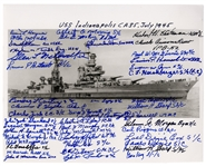 U.S.S. Indianapolis Survivors Signed 10 x 8 Photo -- Signed by 45 Survivors