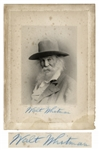 Walt Whitman Large Signed Photo Measuring 6.25 x 8.5 -- With University Archives COA