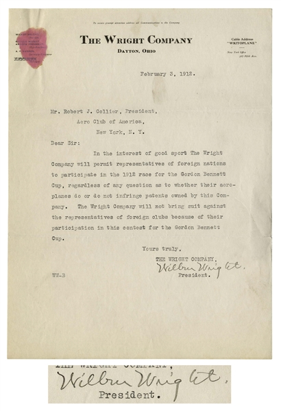 Wilbur Wright Letter Signed From 1912 in Which He, ''In the Interest of Good Sport'' Allows Patent Infringing ''Aeroplanes'' to Participate in World Famous Race