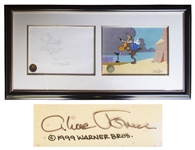 Chuck Jones Signed Animation Cel & Drawing from Chariots of Fur Featuring Wile E. Coyote