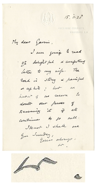 Winston Churchill Autograph Letter Signed -- ''...The road is strong + painful + uphill...''