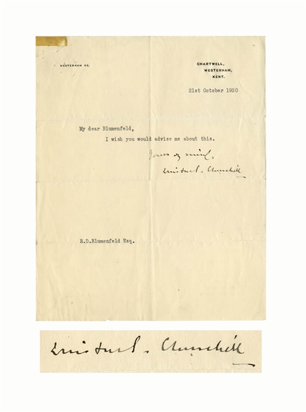 Winston Churchill Letter Signed With a Pointed Request
