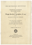 Smithsonian Program From 1948 for The Presentation of the Wright Brothers Aeroplane of 1903 -- Very Rare, With Infamous Smithsonian Label Printed Within