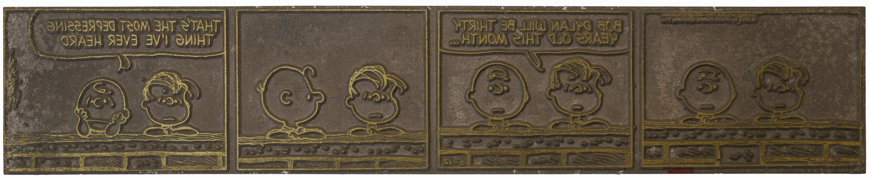 Original Printing Plate for the Famous 1971 ''Peanuts'' Comic Strip Celebrating Bob Dylan's 30th Birthday -- Plus 12 Other Original Comic Printing Plates Including Four More for ''Peanuts''