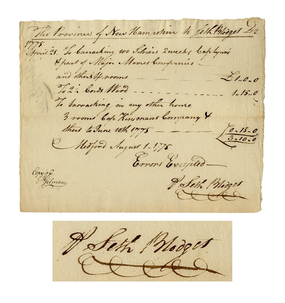 Revolutionary War Document Regarding the Siege of Boston -- Receipt for Lodging of Troops Who Fought at Bunker Hill