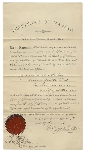 Hawaiian Document From 1901 Signed by Henry Cooper as Acting Governor of the Territory of Hawaii