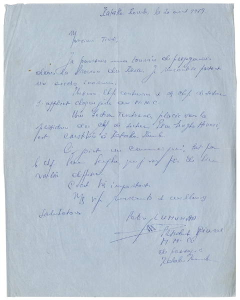 Patrice Lumumba Autograph Letter Signed Shortly Before His Brief Tenure as Congolese Prime Minster & Subsequent Execution -- With 13 Press Photographs From 1960
