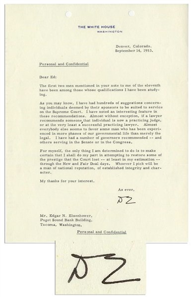 Dwight Eisenhower 1953 Letter Signed Regarding His Supreme Court Appointment -- ''...I shall...restore some of the prestige that the Court lost...through the New Deal and Fair Deal...''