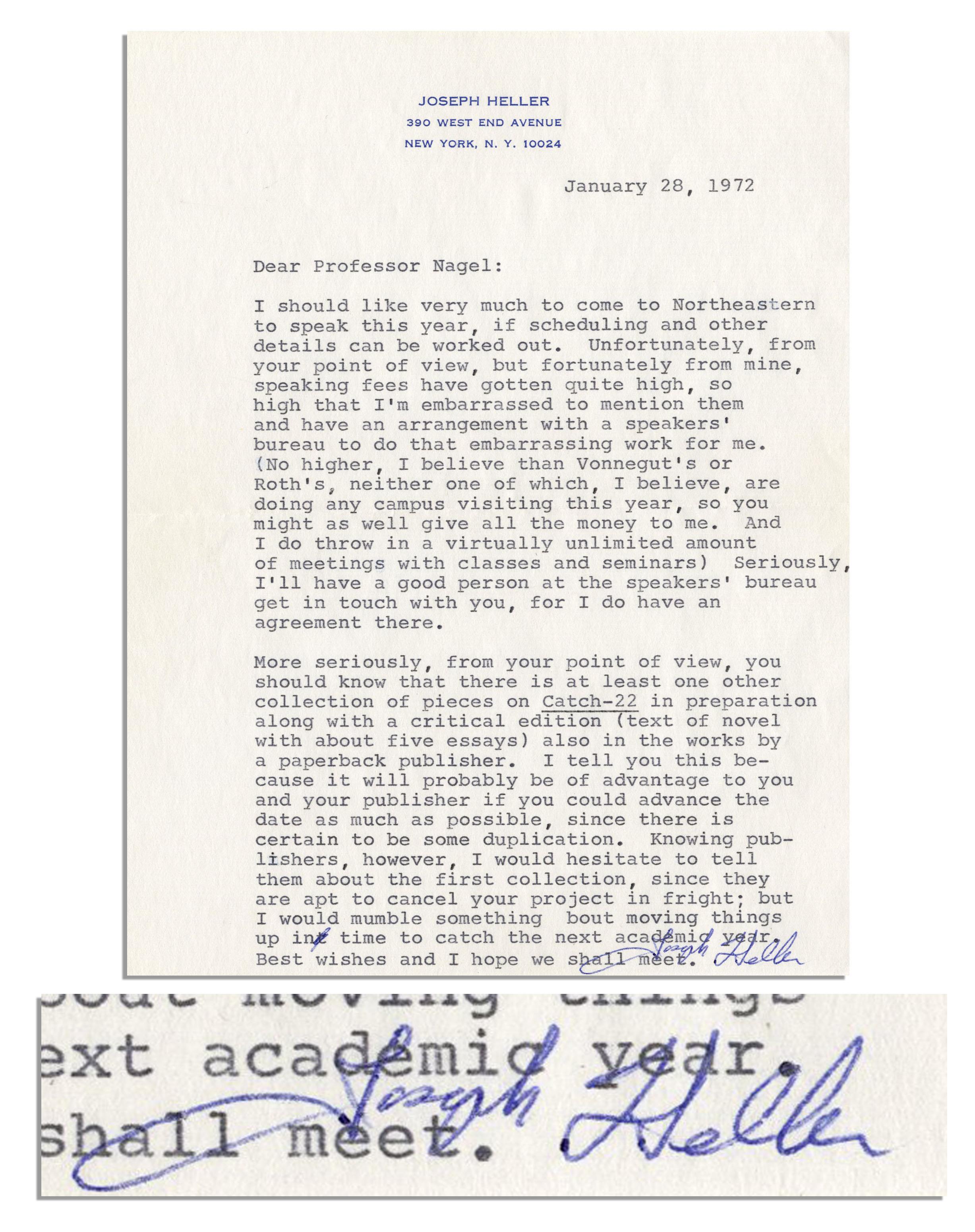 Item Detail - Joseph Heller Letter Signed -- ''   speaking