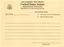 Bill Clinton Senate Impeachment Trial Question Card -- January 1999 -- Near Fine