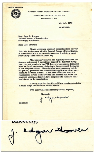 J. Edgar Hoover Letter Signed -- ''...during your years of service in the FBI there were numerous instances when we faced tremendous obstacles...''