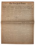 27 September 1939 Edition of The New York Times -- Warsaw Stormed by Nazi Besiegers