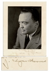 J. Edgar Hoover Signed Photo Display -- To Ralph W. Beards / Best wishes / 3.9. 50  J. Edgar Hoover -- 8.75 x 11.25 Matte Photo -- Small Stain to Lower Edge, Else Near Fine
