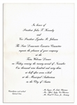 John F. Kennedy Dinner Invitation, Welcoming Him to Texas the Night of His Assassination