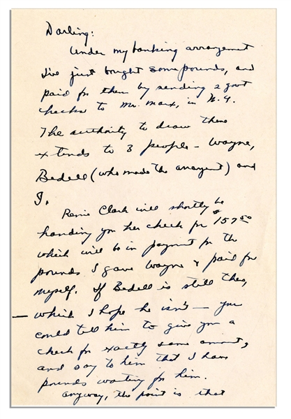 Dwight Eisenhower WWII Autograph Letter Signed -- ''...We get pounds at a favorable rate...It will help you save enough to pay income tax next March which will be some 2000 bucks. Wow!...''