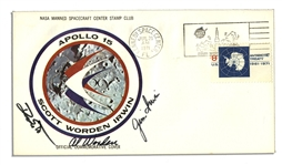 Apollo 15 Crew-Signed NASA Astronaut Insurance Cover -- Signed Al Worden, Dave Scott & Jim Irwin -- Cancelled 26 July 1971 -- 6.5 x 3.75 -- Near Fine -- With COA From Worden
