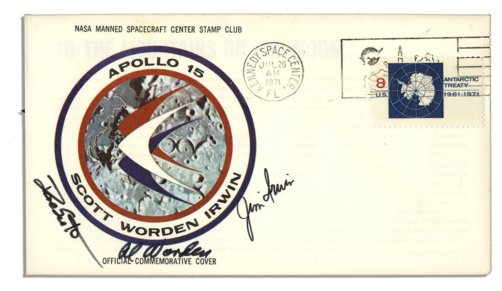 Apollo 15 Crew-Signed NASA Issue Astronaut Insurance Cover -- ''Al Worden'', ''Dave Scott'' & ''Jim Irwin'' -- Cancelled 26 July 1971
