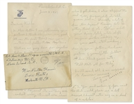 Rene Gagnon Autograph Letter Signed From WWII -- ...I got clipped under the eye with a bayonet...Dont tell my mother...I also clipped the end of my finger... -- With Gagnons Signed Envelope