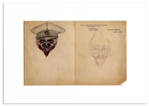 Enrico Caruso Hand-Drawn Pair of Sketches -- Depicting His Fellow Opera Singer, French Bass Pol Plancon