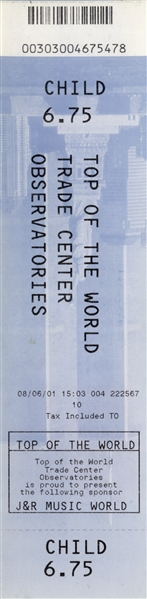 World Trade Center Ticket From 2001 -- For Access to Observatory Deck Dated 6 August 2001