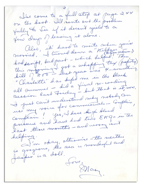 Mary Astor Autograph Letter Signed -- ''...an audience spots a phony a mile off...people ask you to read their manuscripts...'just for an opinion' - well I read them, and mostly they are junk...''