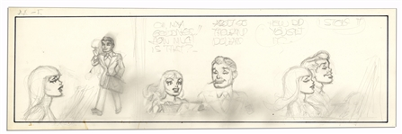 Unfinished Comic Strip by Al Capp in Pencil -- Undated & Untitled -- 19.75 x 6.25 -- Very Good -- From the Al Capp Estate