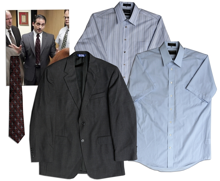 Steve Carell Screen-Worn Business Suit Jacket, Shirts & Tie From ''The Office'' -- With a COA From NBC Universal