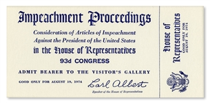Richard Nixon Impeachment Trial Ticket -- Unused U.S. House Ticket to the Impeachment Trial