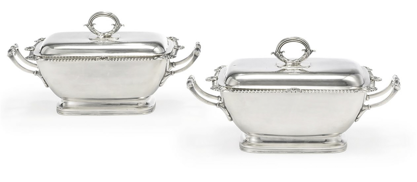Pair of Silver Sauce Tureens in the King George III Style -- 1809