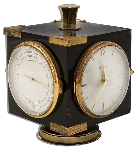 Marlene Dietrich Owned Desk Clock -- With Barometer, Thermometer & Hygrometer Sides